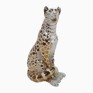 Stile Hollywood Regency bianco e leopardo in oro a 24 carati, anni '70