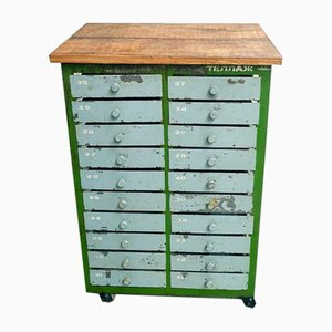 Industrial Gray & Green Chest of Drawers on Wheels with Oak Top, 1960s