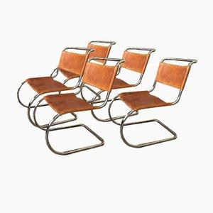 Chaises de Salon Luge Vintage MR10 / S533 en Cuir Bauhaus par Ludwig Mies van der Rohe pour Thonet, Set de 5