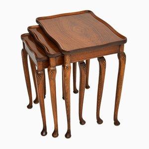 Walnut Pie Crust Nesting Tables, 1930s, Set of 3