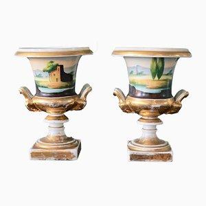 Antique Porcelain Medici Vases, Set of 2