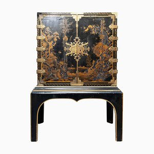 Antique Japanese Lacquered Cabinet on Stand