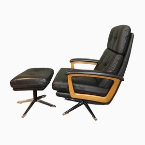 Leather Swivel Recliner Chair & Footstool from Lübke, 1960s, Set of 2