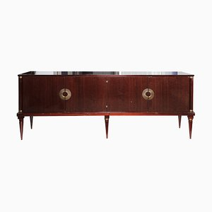 Mid-Century Mahogany Sideboard with Brass Accents