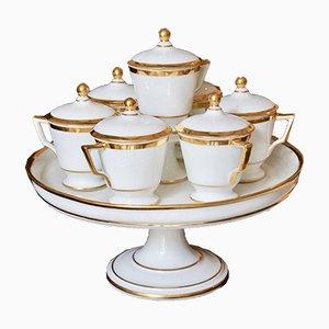 Antique Paris Porcelain Cream Pot Set with Stand, Circa 1810, Set of 8