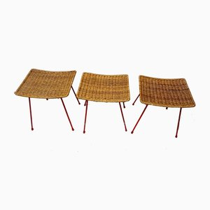 Rattan Stools with Metal Legs, 1960s, Set of 3