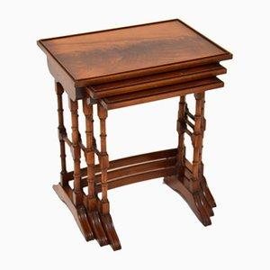 Antique Georgian Style Mahogany Nesting Tables, 1950s, Set of 3