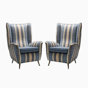 Italian Brass & Silk Upholstery Lounge Chairs from ISA (Industria Salotti e Arredamenti), 1950s, Set of 2