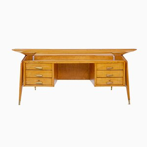 Mid-Century Wood, Glass and Brass Desk by Carlo de Carli
