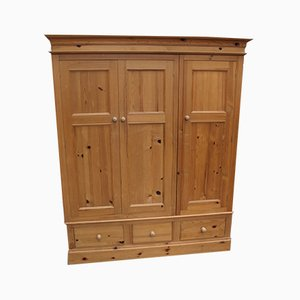 Triple Country Pine 3-Door Wardrobe with Base Drawers, 1960s