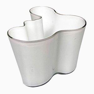 Finnish White Glass Savoy Vase by Alvar Aalto, 1936