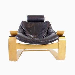 Schwarzer Leder Kroken Sessel von Ake Fribytter für Nelo Möbel, 1970er
