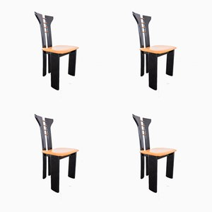 Wooden Dining Chairs, 1980s, Set of 4