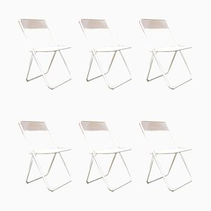 Italian Metal Folding Chairs, 1980s, Set of 6