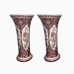 Grands Vases Cornet Vintage Rouges de Royal Delft, Set de 2