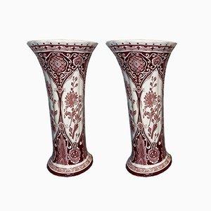 Large Vintage Red Cornet Vases from Royal Delft, Set of 2
