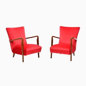 Walnut & Red Velvet Model 401 Lounge Chair from Cassina, 1950s