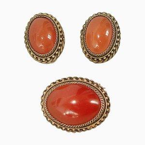 Ohrringe und Broschen aus vergoldetem Silber, 1970er, 3er Set
