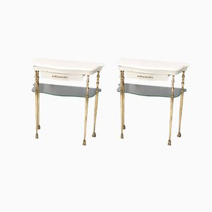 Italian White Lacquered Nightstands with Marble Tops & Glass Shelves, 1950s, Set of 2