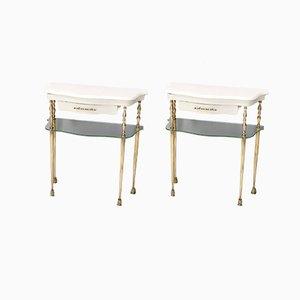 Weiß Lackierte Italienische Nachttische mit Marmorplatten & Glasböden, 1950er, 2er Set