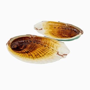 Antique French Shell Dishes by Hippolyte Boulenger for Choisy le Roy, Set of 2