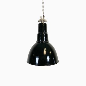 Bauhaus Industrial Black Enamel Ceiling Lamp, 1930s