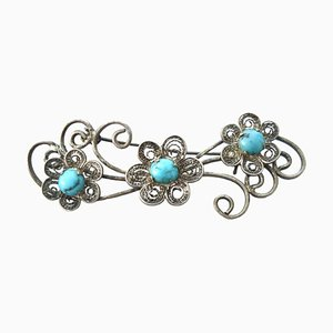Vintage Sterling Silver & Turquoise Cabochons Brooch, 1960s