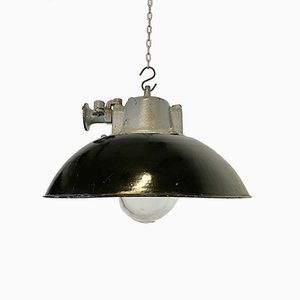 Industrial Black Enamel and Cast Iron Pendant Lamp, 1960s