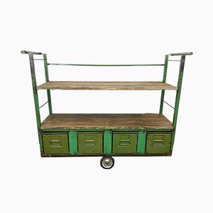 Industrial Green Shelf with Drawers on Wheels, 1960s