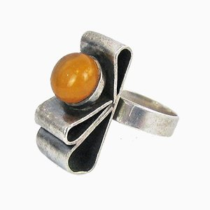Vintage Silver Amber Ring, 1980s