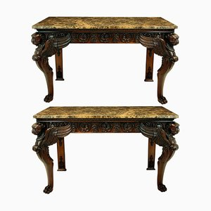 Marble & Wood Console Tables, 1920s, Set of 2