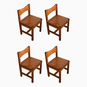 Mid-Century Modern Pine Dining Chairs by Ilmari Tapiovaara for Laukaan Pu, Set of 4