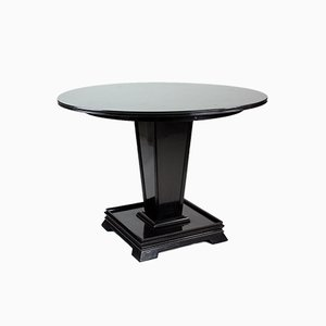 Round Black Dining Table, 1930s