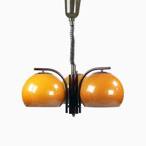 Ausziehbare Deckenlampe mit Drei Leuchten in Orange von Elektrofém Isz, 1970er