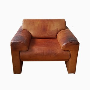 Mid-Century Cubic Cognac Leather Club Chair from Walter Knoll / Wilhelm Knoll