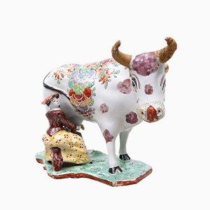 Multicolored Delft Cow Figurine, 1700s
