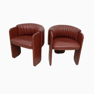 Italian Leather Lounge Chairs by Luigi Massoni for Poltrona Frau, 1980s, Set of 2