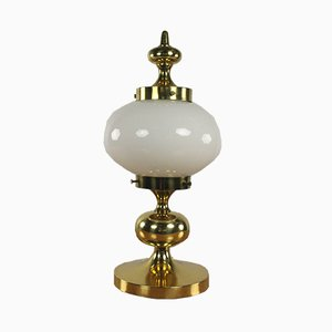 Glass & Polished Brass Table Lamp, 1960s