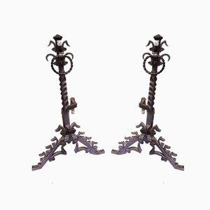 Alari Mid-Century in metallo forgiato, Francia, set di 2