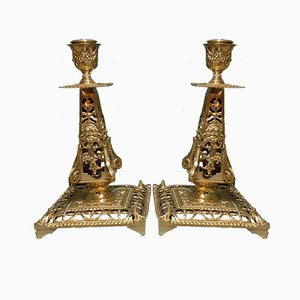 19th Century French Brass Candlesticks, Set of 2