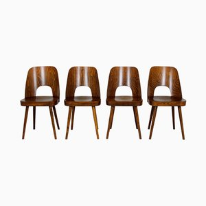 No. 515 Wooden Dining Chairs by Oswald Haerdtl for TON, 1950s, Set of 4