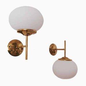 Vintage Brass Sconce with Oval Glass