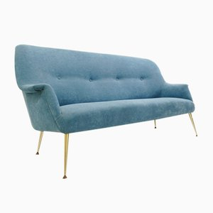 Italian Sofa with Turquoise Upholstery, 1960s