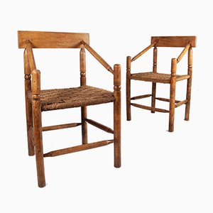 Wood & Rope Lounge Chairs, 1960s, Set of 2