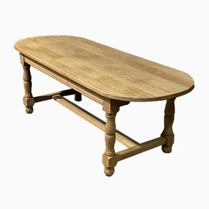 Large Antique Bleached Oak Farmhouse Dining Table with Rounded Ends