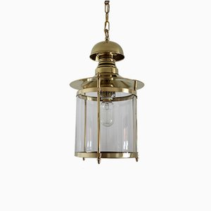 Italian Brass and Glass Pendant Lamp, 1960s