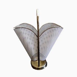 White Lacquered Brass, Cast Iron & Vinyl Umbrella Stand, 1960s
