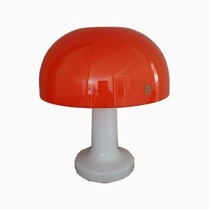 Danish Orange & White Opaline Glass Parasol Lamp with Mushroom Shape by Michael Bang for Holmegaard, 1970s