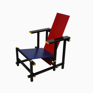 Gerrit Rietveld Style Red & Blue Armchair, 1980s