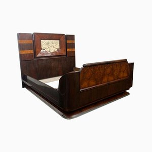 Art Deco Rosewood & Walnut Bed Frame with Carved Headboard by Ducrot, 1922